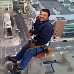 Columbus Window Cleaner at Globe Window Cleaning on high rise building