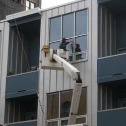 Our 55 foot bucket truck being used to clean condominium windows in the Arena District, near the Short North of Columbus, Ohio